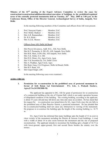 Minutes of the 22nd meeting - Archaeological Survey of India