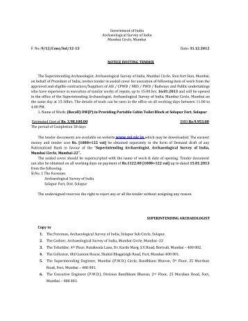 (Recall) OW(P) to Providing Portable Cabin Toilet Block at Solapur ...