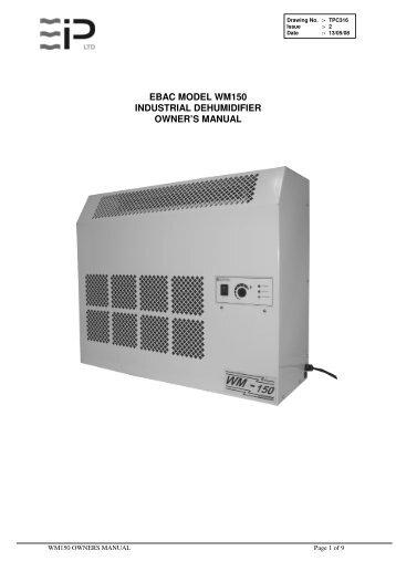 Ebac Model Cd35 Industrial Dehumidifier Owner U0026 39 S Manual