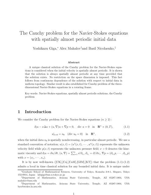 The Cauchy problem for the Navier-Stokes equations with