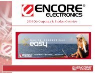 2010 Q3 Corporate & Product Overview - Encore Electronics