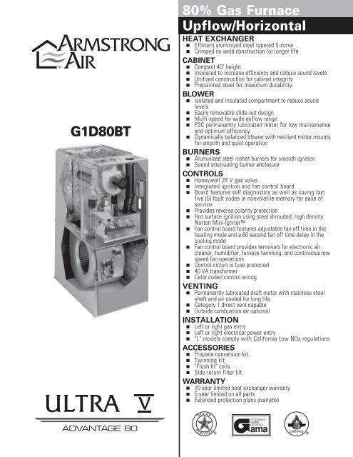 Ultra V Enhanced 80 Armstrong Furnace PDF Appliance 911 Forum