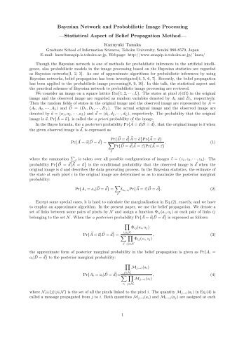Bayesian Network and Probabilistic Image Processing —Statistical ...