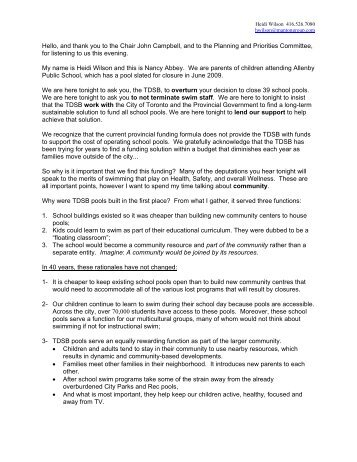 deputation - Allenby Parents' Association