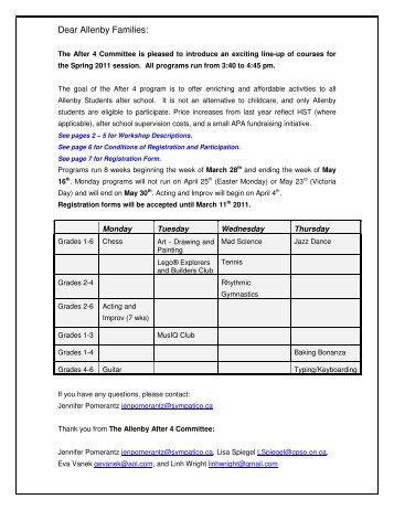 Dear Allenby Families: - Allenby Parents' Association