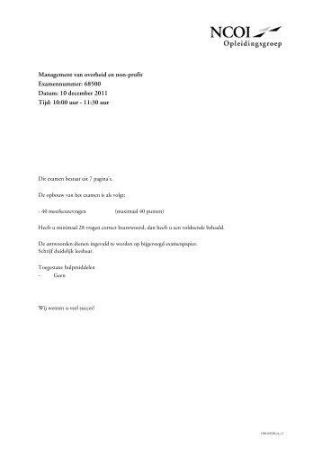 Management van overheid en non-profit Examennummer: 68500 ...