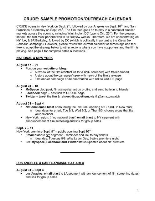 crude: sample promotion/outreach calendar - ChevronToxico