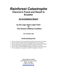 Rainforest Catastrophe Chevron's Fraud And ... - ChevronToxico