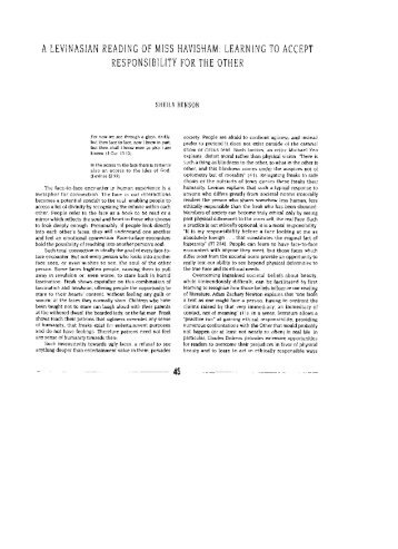a levinasian reading of miss havisham: learning to ... - Employment