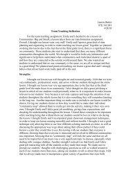 Team lesson reflection - Employment
