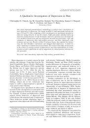 A Qualitative Investigation of Depression in Men - Employment ...