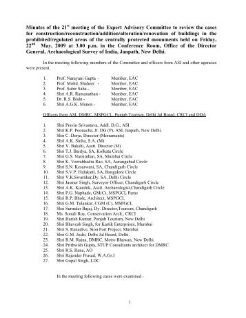 Minutes of the 21st meeting - Archaeological Survey of India