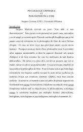 PSYCHOLOGIE EMPIRIQUE ET PHILOSOPHIE DE L'ETRE ... - CA