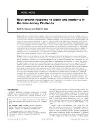 Root growth response to water and nutrients in the New Jersey ...