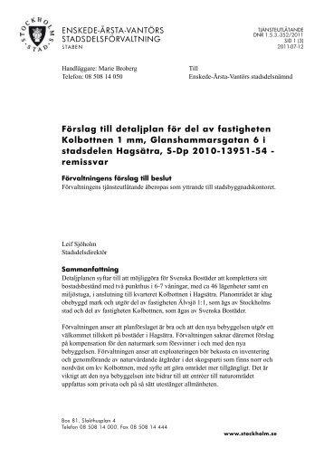 Förslag till detaljplan för del av fastigheten Kolbottnen 1 mm ... - Insyn
