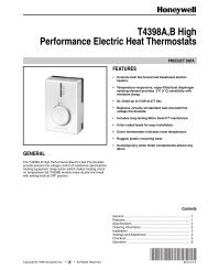 T4398A,B High Performance Electric Heat Thermostats - Air & Water