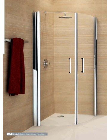 ref. 1 Giada R Quadrant shower enclosure, 2 hinged doors - Novellini