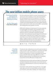 The next billion mobile phone users - Texas Instruments