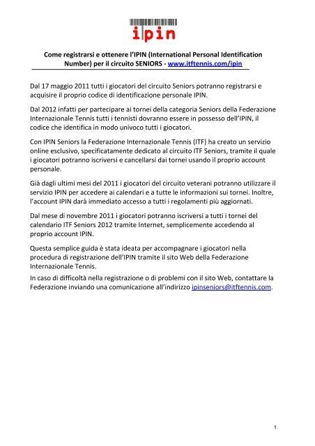 Calendario Itf.Come Registrarsi E Ottenere L Ipin International Personal