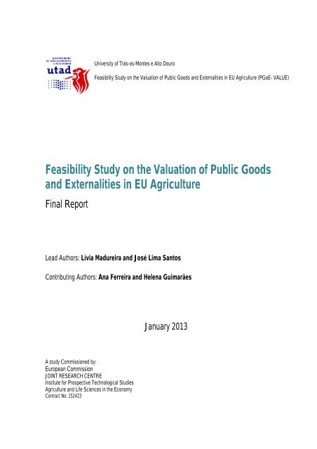 Feasibility Study On The Valuation Of Public Goods Agrilife