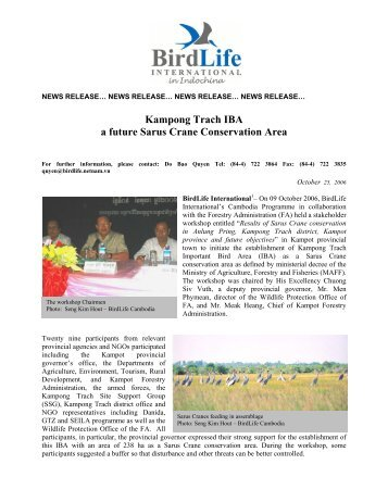 in pdf - 80 KB - Birdlife International in Indochina