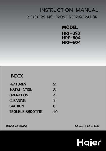 instruction manual 2 doors no frost refrigerator - Haier.com