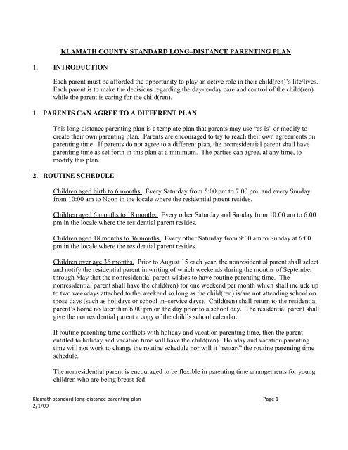 Klamath county standard long distance parenting plan