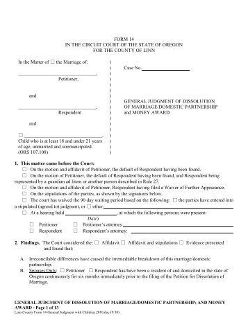 Responding to petition for dissolution divorce oregon judicial form 14 general judgment of dissolution oregon judicial solutioingenieria Images