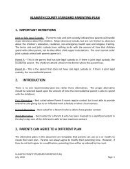 KLAMATH COUNTY STANDARD PARENTING PLAN 1 ...
