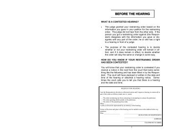 Ea 120 Notice Of Hearing And Temporary Restraining Order