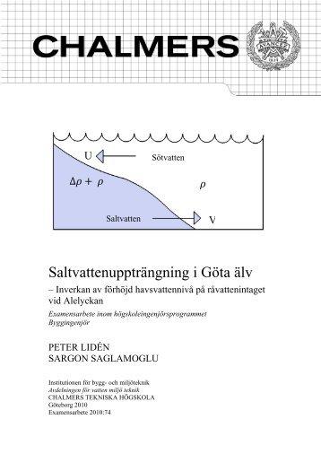 Saltvattenuppträngning i Göta älv - Chalmers tekniska högskola
