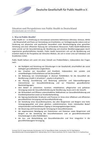 Situation und Perspektiven von Public Health in ... - Die DGMS