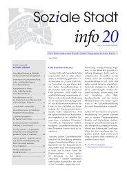 Soziale Stadt info 20; April 2007; Schwerpunkt