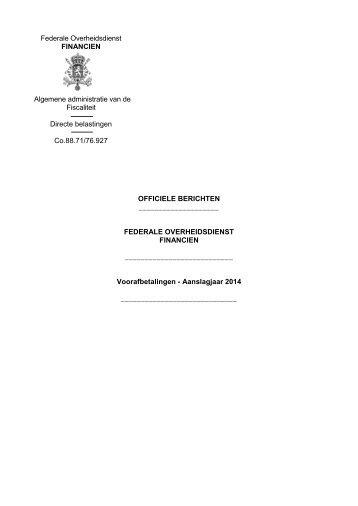 Voorafbetalingen - Aanslagjaar 2014 - Fiscus.fgov.be