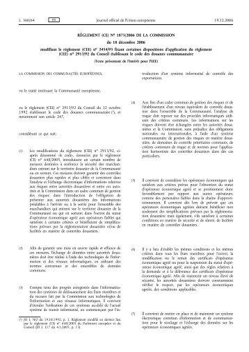 RÈGLEMENT (CE) No 1875/2006 DE LA COMMISSION ... - EUR-Lex