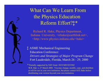 What Can We Learn From the Physics Education Reform Effort?‡*