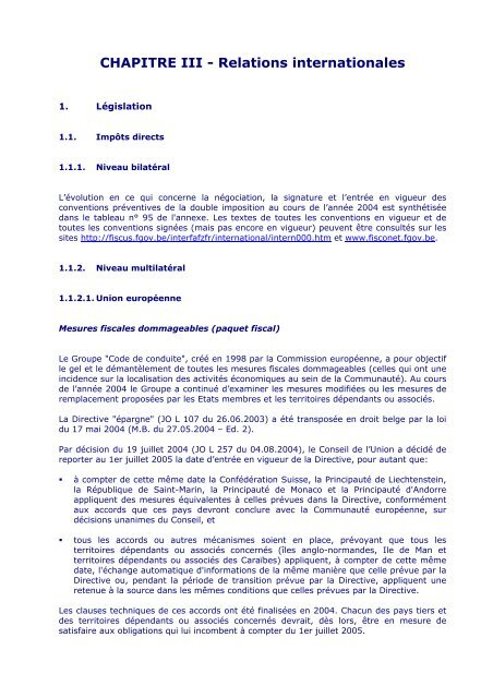 CHAPITRE III - Relations internationales - Fiscus.fgov.be