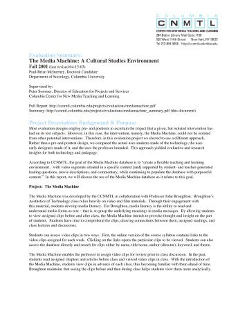 Evaluation Summary - Columbia Center for New Media Teaching ...