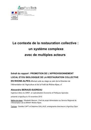 Le contexte de la restauration collective - DRAAF Rhône-Alpes