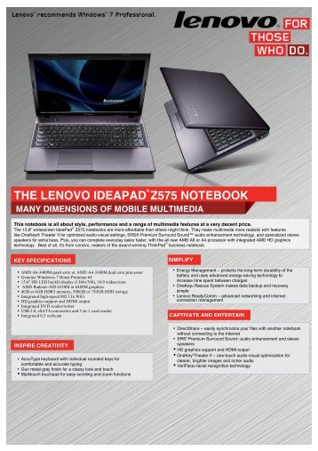 IdeaPad Z575 Datasheet - Walmart