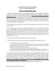 Small Claims Instructions - Oregon Judicial Department - State of ...