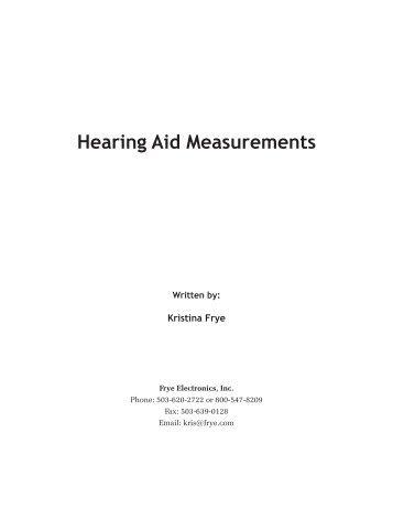 Hearing Aid Measurements - Frye Electronics
