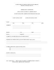 Application to Serve as Arbitrator in Court Mandatory Arbitration ...