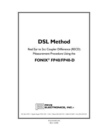 DSL FP40 method - Frye Electronics