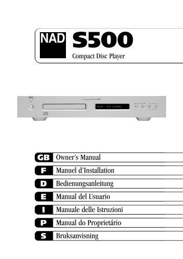 Owner's Manual GB Manuel d'Installation F Bedienungsanleitung D ...