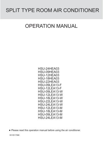 Type Room Air Conditioner Operation Manual  HaierCom