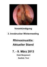 Aktueller Stand 7. - 9. März 2013 - Univ. HNO Klinik Innsbruck - UKI