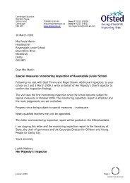 10 March 2009 Mrs Paula Martin Headteacher Ravensdale Junior ...