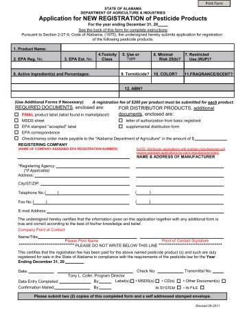 Application for NEW REGISTRATION of Pesticide Products