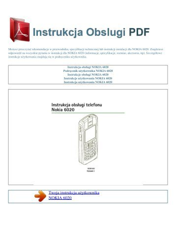 Instrukcja obsługi NOKIA 6020 - INSTRUKCJA OBSLUGI PDF